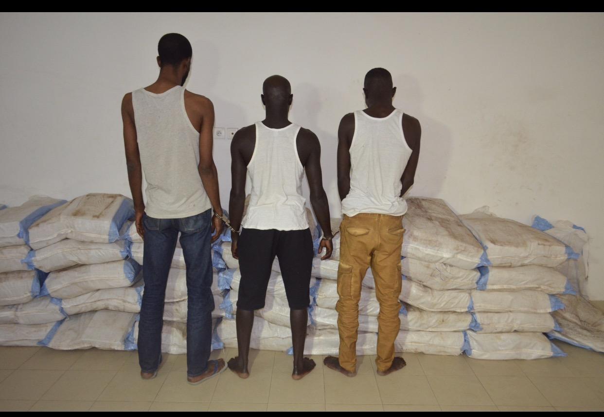 Interpellation par l'Ocrtis, de (04) individus, pour détention et trafic international de chanvre indien de la variété « BROWN » portant sur 1,248 tonne
