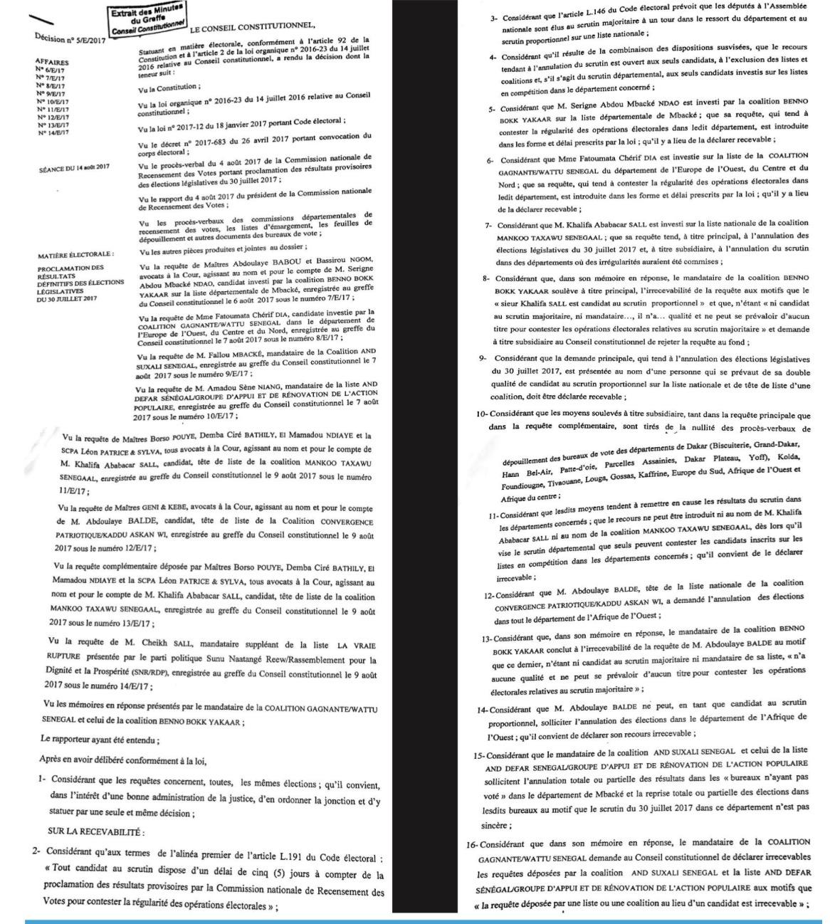 ÉLECTIONS LÉGISLATIVES : Le Conseil Constitutionnel rejette tous les recours (DOCUMENTS)