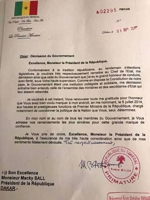 OFFICIEL : La lettre de démission du Gouvernement de Mahammed Boun Abdallah Dionne (DOCUMENT)
