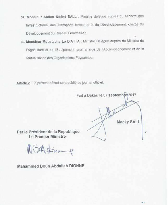 OFFICIEL : La composition du nouveau Gouvernement du Sénégal (DOCUMENTS)