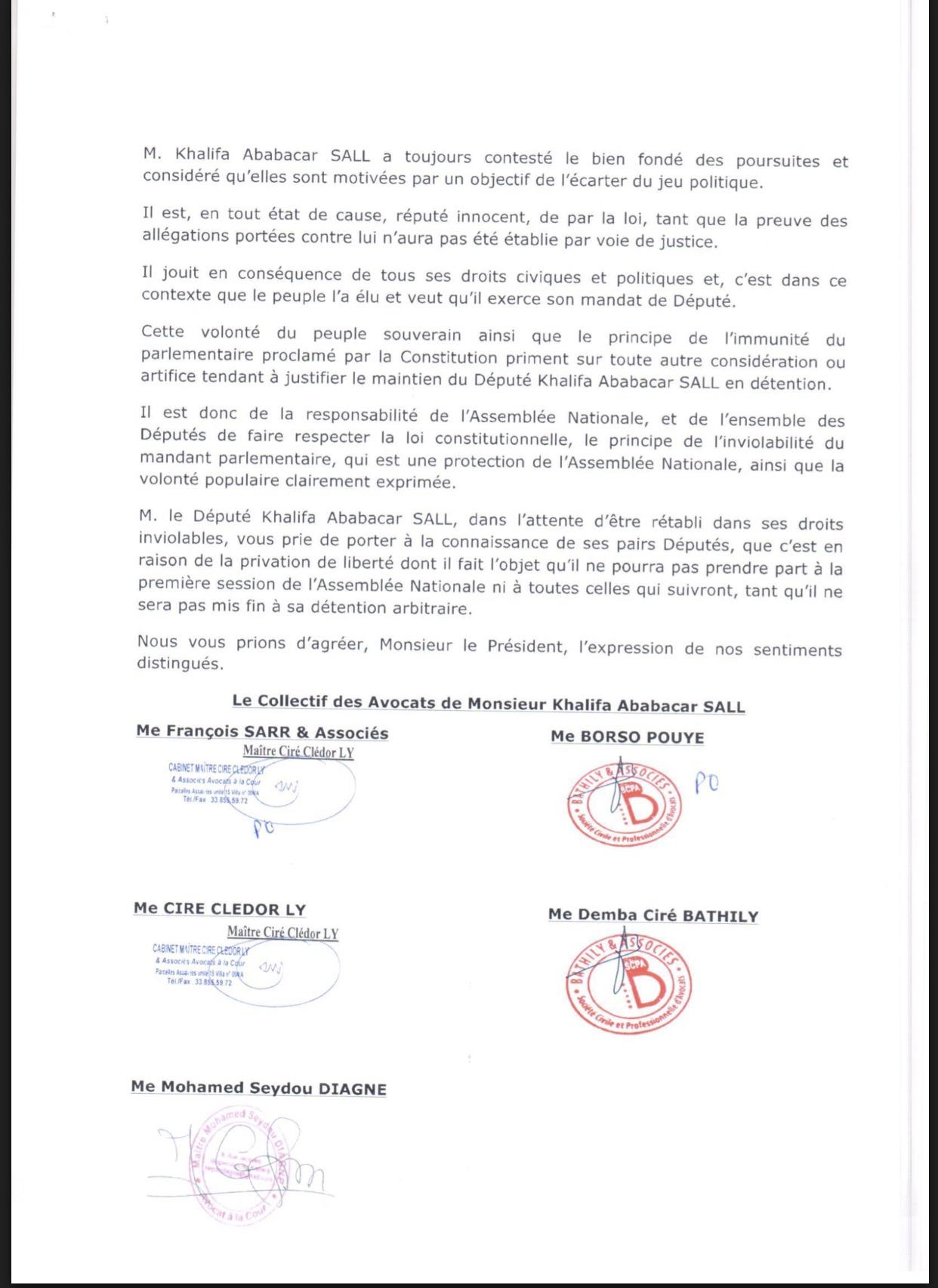 Les avocats de Khalifa Sall écrivent au Président de l'Assemblée nationale (DOCUMENT)
