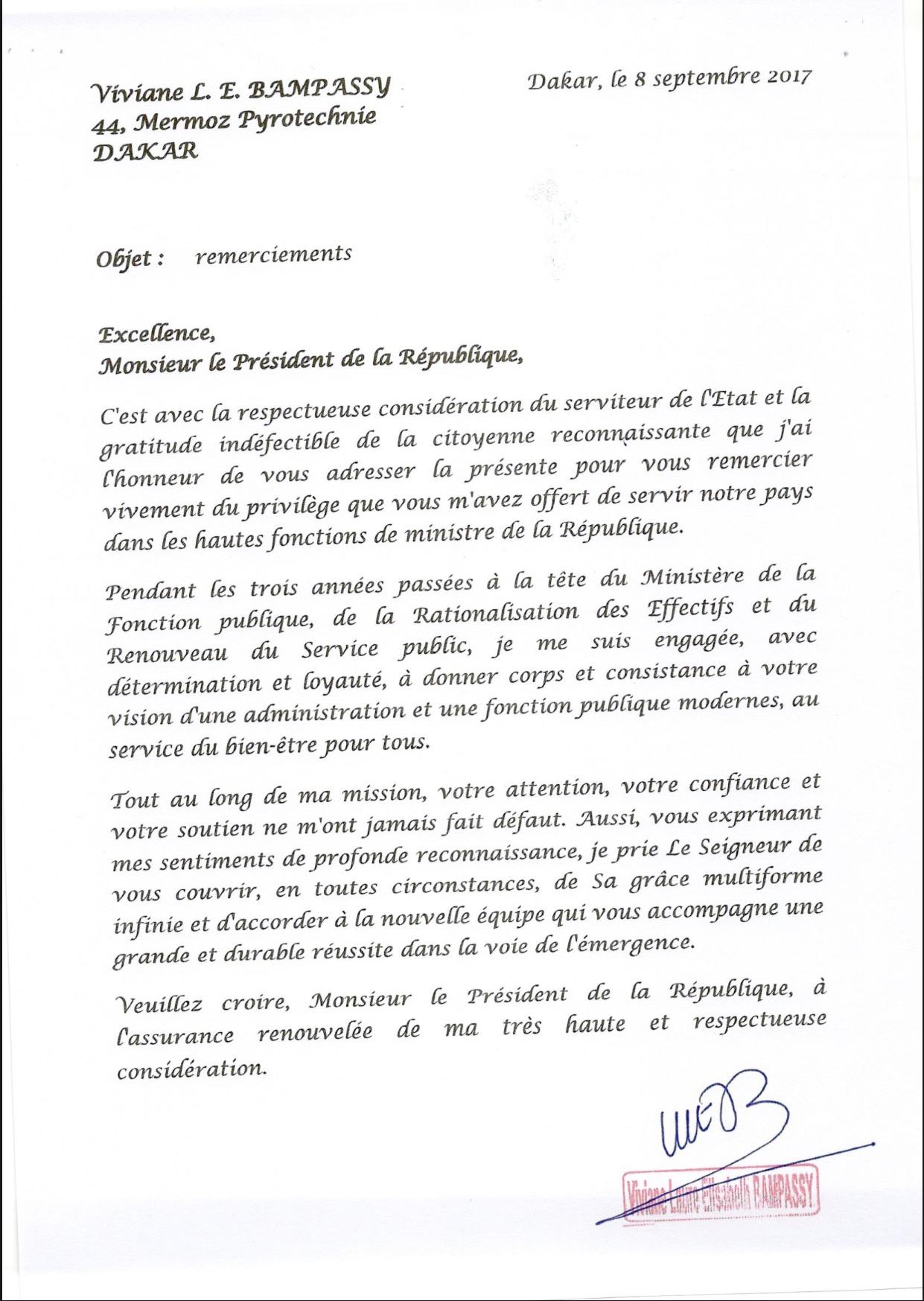 Lettre de remerciement de Mme Viviane Bampassy au Président de la