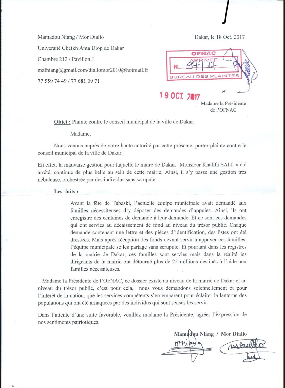 D tournement d objectif la mairie de dakar une plainte - Porter plainte aupres du procureur de la republique ...