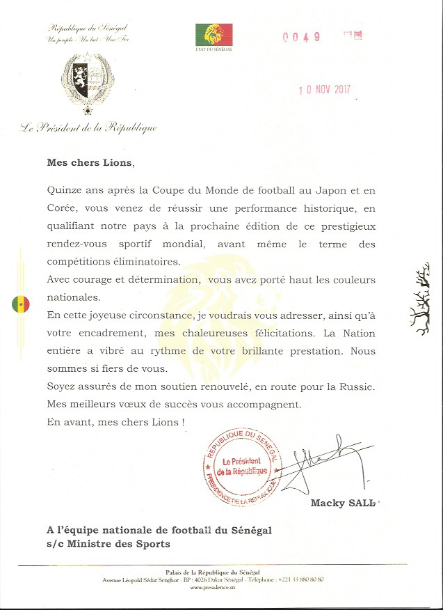 QUALIFICATION AU MONDIAL : Le Président de la République Macky Sall félicite les Lions (DOCUMENT)