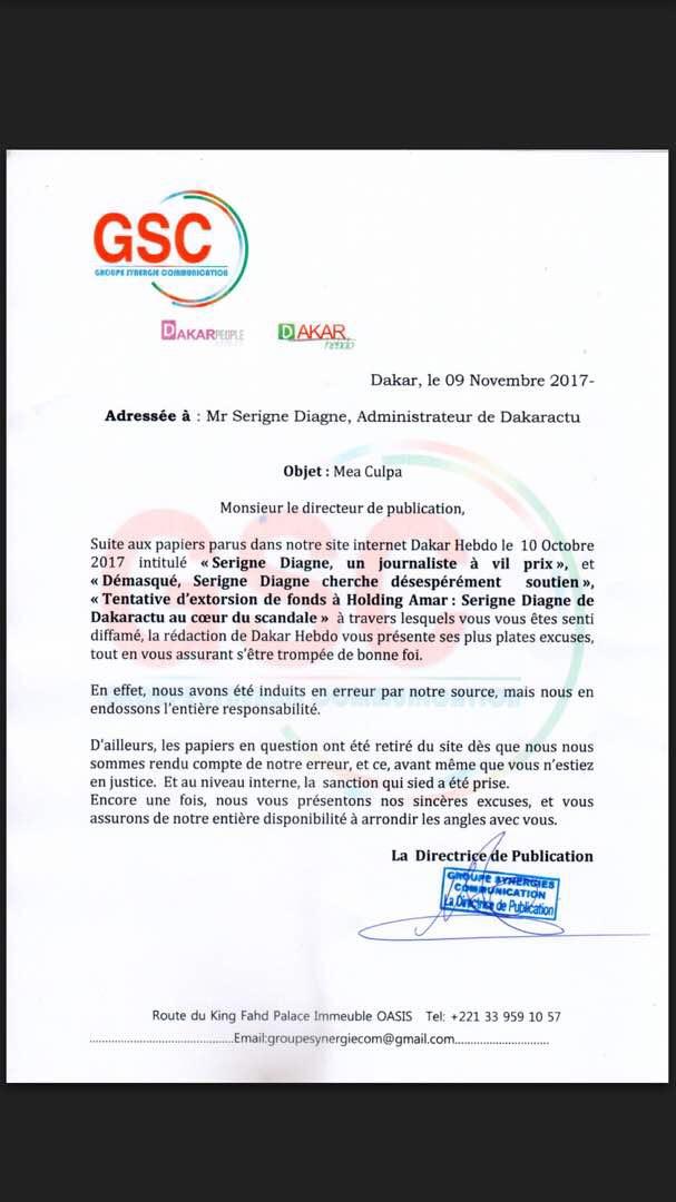 Le site d'informations Dakarhebdo de Cheikh Amar présente ses excuses à Serigne Diagne de Dakaractu (DOCUMENT)