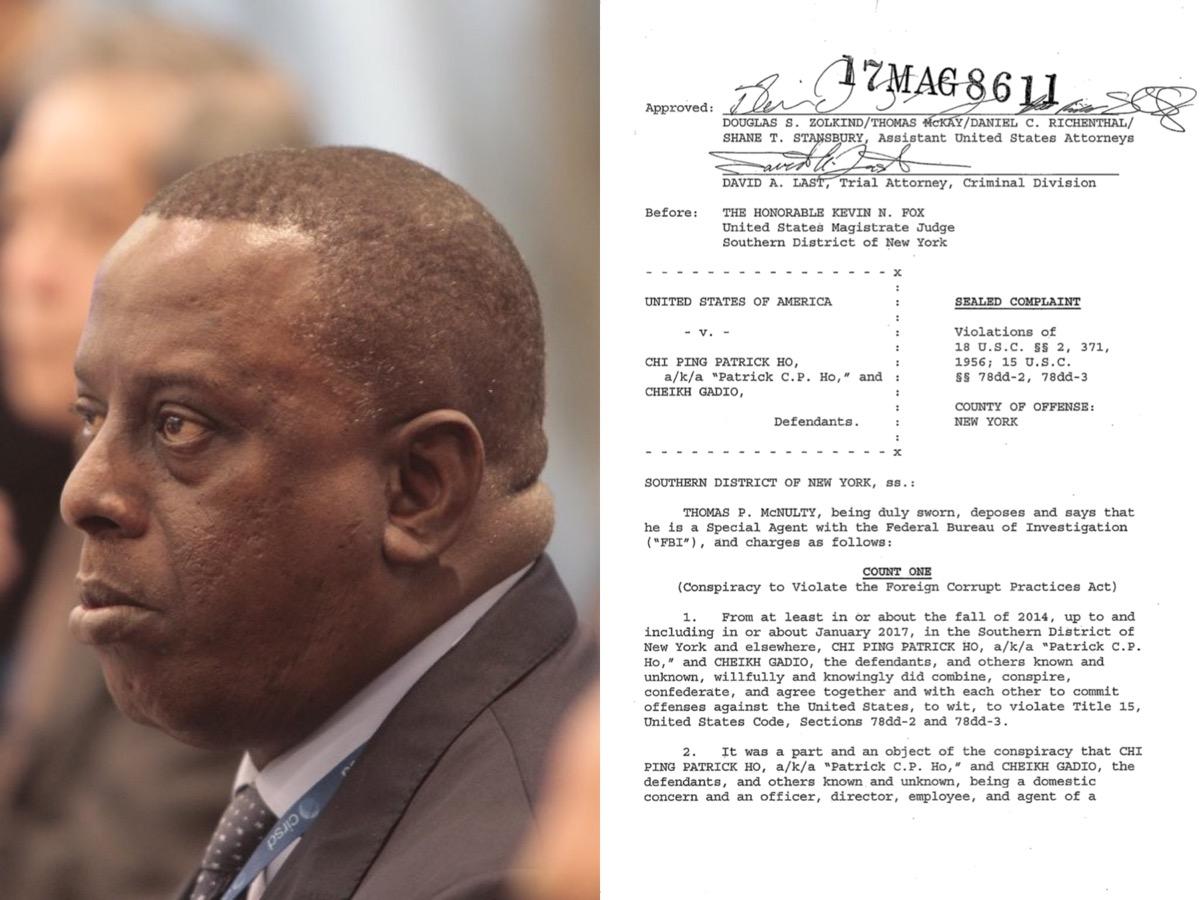 GADIO ARRÊTÉ AUX ETATS-UNIS - Le Sénégalais empêtré dans une affaire de corruption d'officiels Africains de haut rang, de blanchiment d'argent international... Son fils dans le coup. (DOCUMENT)