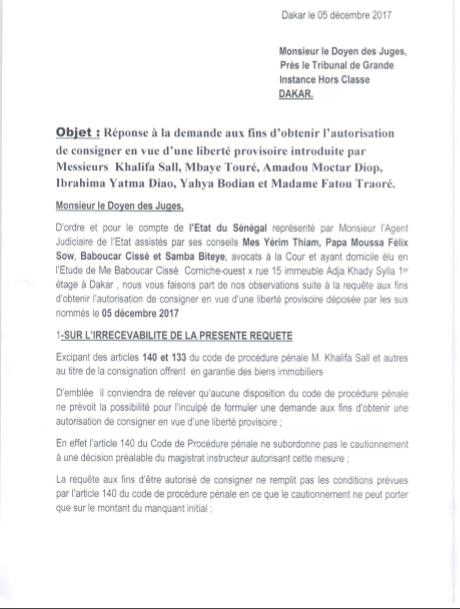 REPLIQUE A LA REPONSE DE L'ETAT DU SENEGAL SUR LA REQUETE AUX FINS D'OBTENIR L'AUTORISATION DE CONSIGNER EN VUE D'UNE LIBERTE PROVISOIRE : A MONSIEUR LE DOYEN DES JUGES D'INSTRUCTION PRES LE TRIBUNAL DE GRANDE INSTANCE HORS CLASSE DE DAKAR