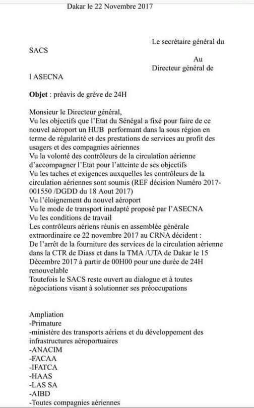 Grève à l'Aibd : conséquence d'une négligence coupable ! / Les contrôleurs ont alerté les plus hautes autorités de l'Etat depuis le 22 novembre (lettre)