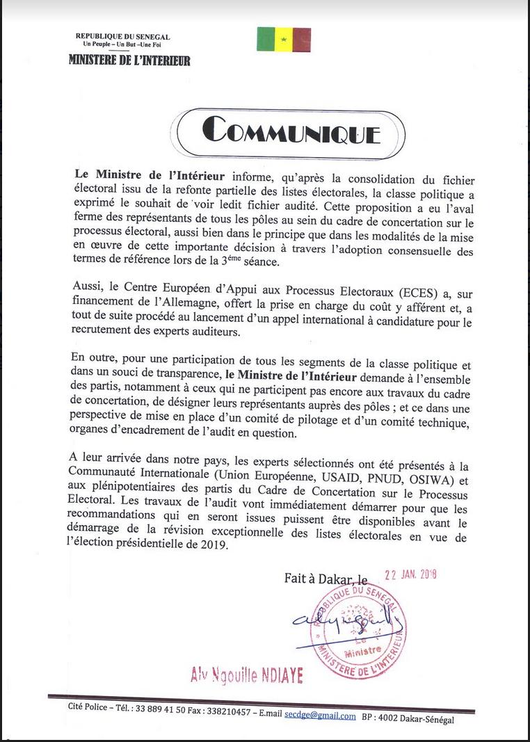 Audit du fichier électoral : le ministre invite « l'opposition significative » à désigner ses représentants (Document)