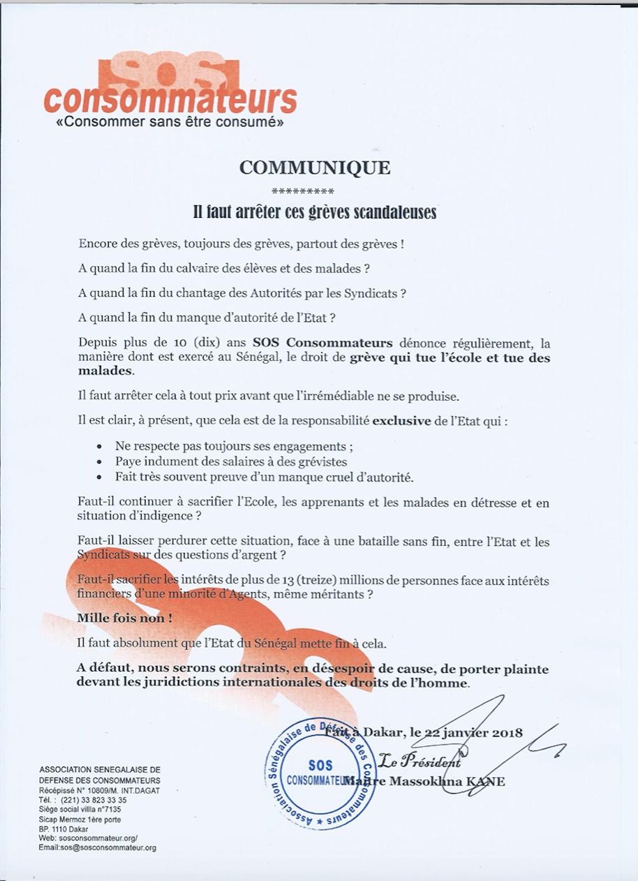 """SOS Consommateurs : """"Il faut arrêter ces grèves scandaleuses"""" (DOCUMENT)"""