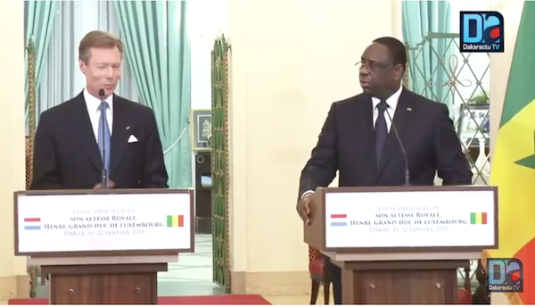 """Le grand-Duc Henri de Luxembourg à Macky Sall : """"Je vous félicite pour tout ce que vous faites les jeunes de votre pays"""""""