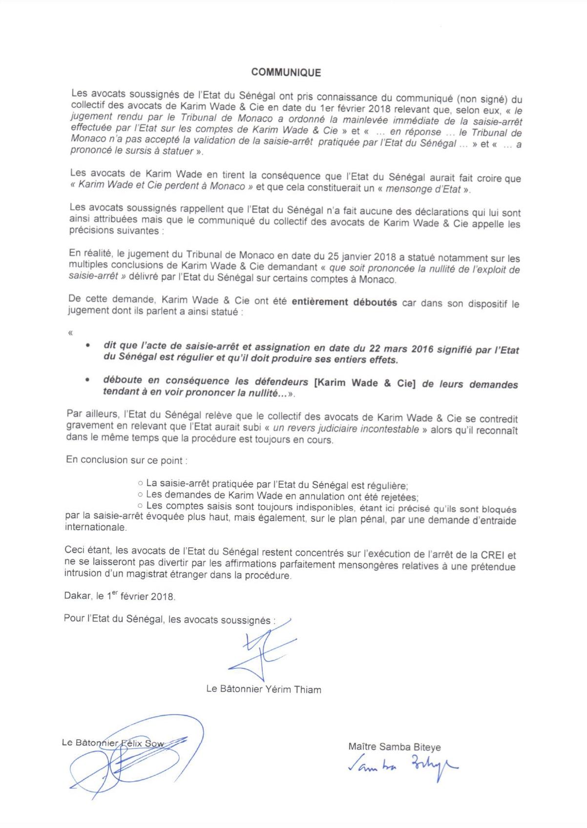JUGEMENT RENDU PAR LE TRIBUNAL DE MONACO : Les avocats de l'Etat du Sénégal recadrent ceux de Karim Wade (DOCUMENT)