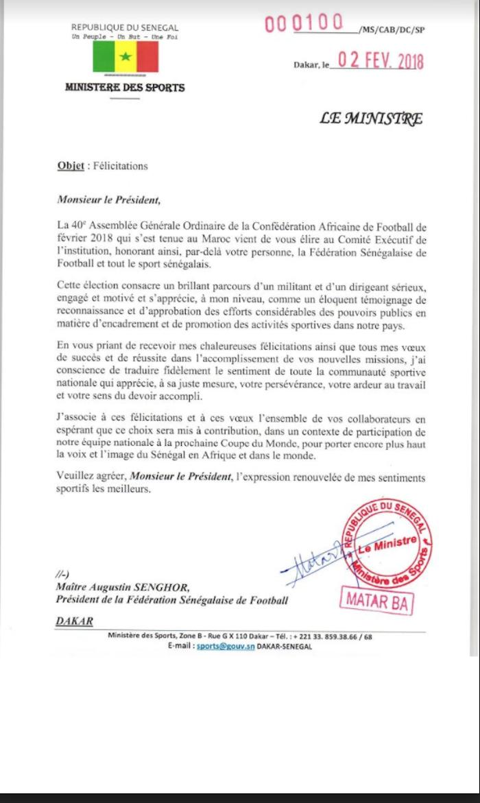 Message de félicitations du Ministre des Sports, Matar BA à Me Augustin Senghor à la suite de son élection comme membre du Comité Exécutif de la CAF (DOCUMENT)