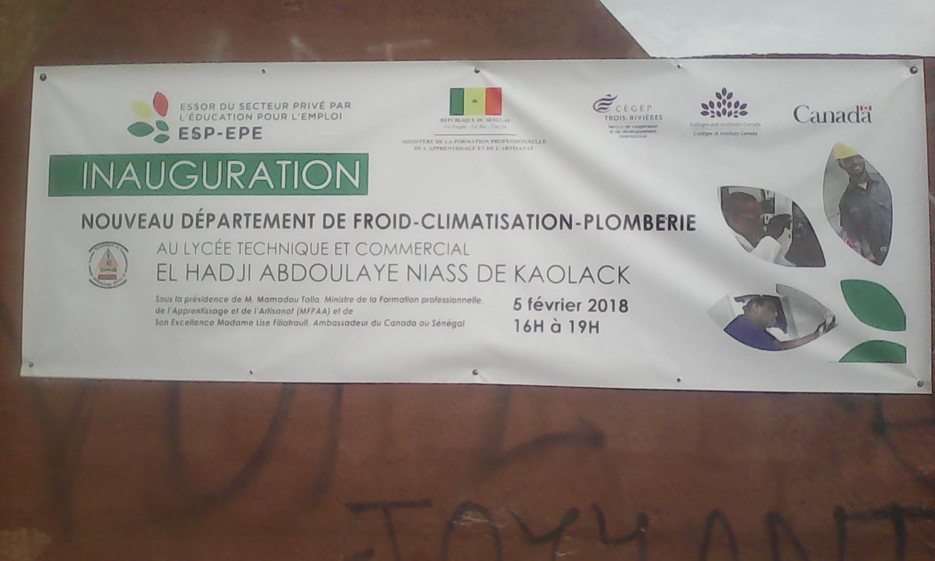 Kaolack : Le lycée technique et commercial devient un centre de référence en se dotant d'un nouveau département de Froid-Climatisation- Plomberie