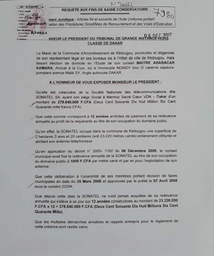 Redevance annuelle : la SONATEL doit 276, 64 millions à la commune de Kédougou (Documents)