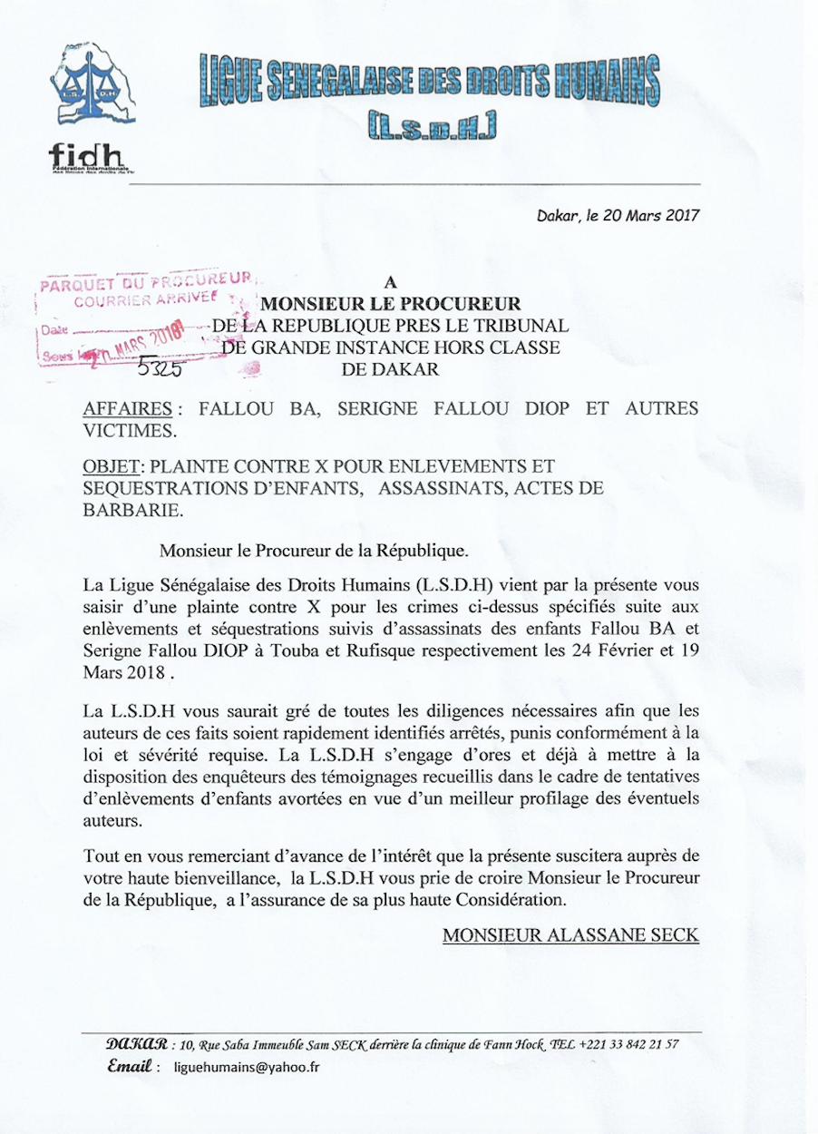 Plainte de la LSDH suite aux enlèvements et séquestrations d'enfants, assassinats et actes de barbarie. (DOCUMENT)