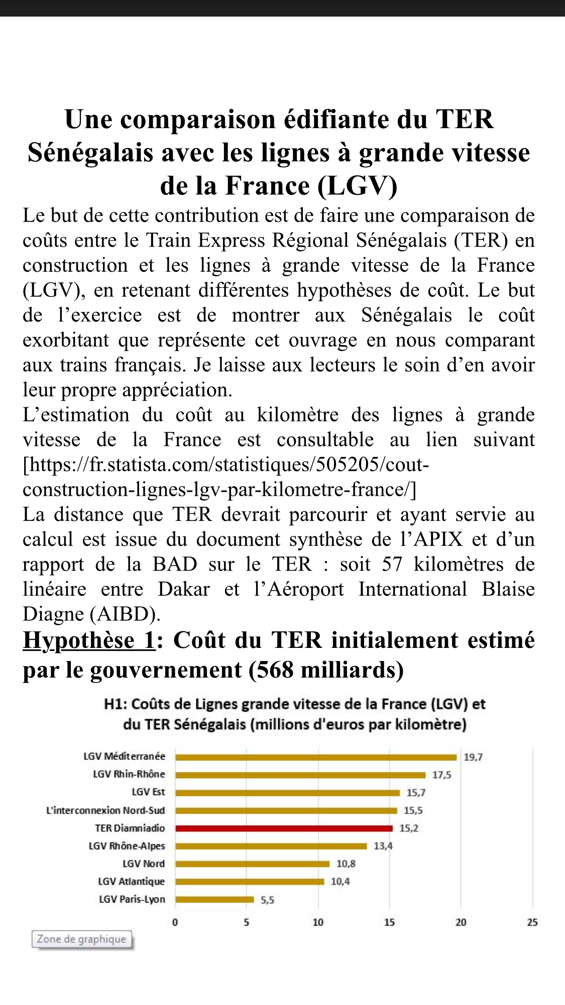 Une comparaison édifiante du TER Sénégalais avec les lignes à grande vitesse de la France (LGV)