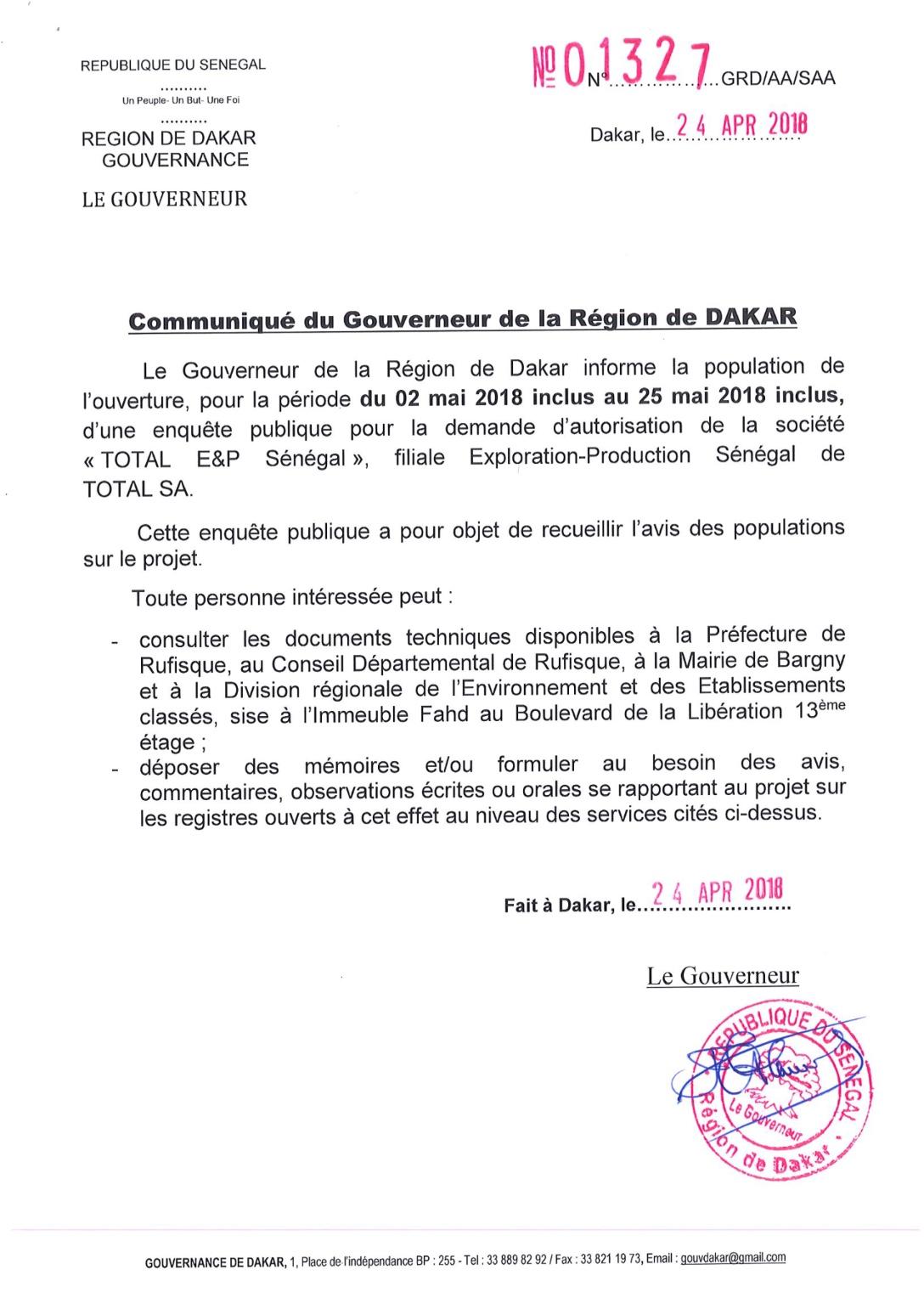 Demande d'autorisation de la société  « Total EP Sénégal» : Enquête publique ouverte pour recueillir l'avis des populations sur le projet
