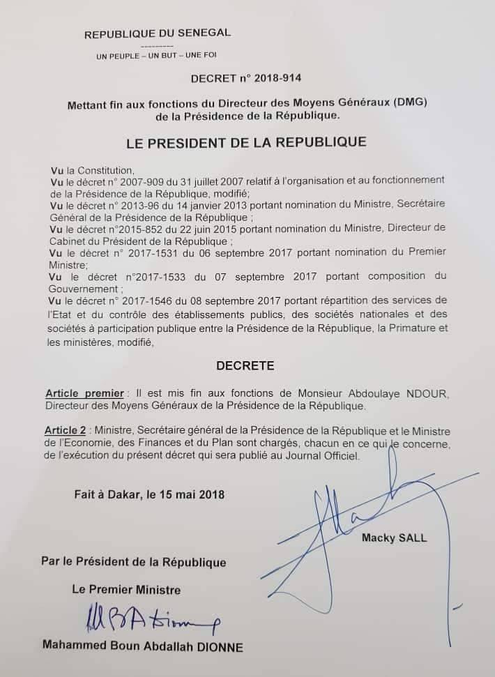 Voici le Décret mettant fin aux fonctions du Directeur des Moyens Généraux (DMG) de la Présidence de la République Abdoulaye Ndour (DOCUMENT)