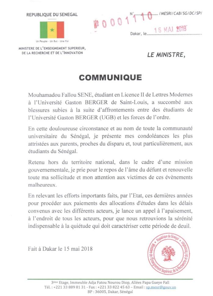 MORT DE FALLOU SÈNE : Le ministre de l'Enseignement Supérieur Mary Teuw Niane présente ses condoléances et appelle à l'apaisement (DOCUMENT)