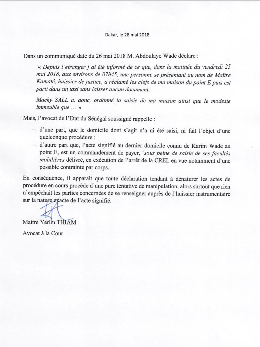 Sortie de Wade sur la saisie des biens de Karim : L'Etat dément et dénonce « une pure tentative de manipulation »