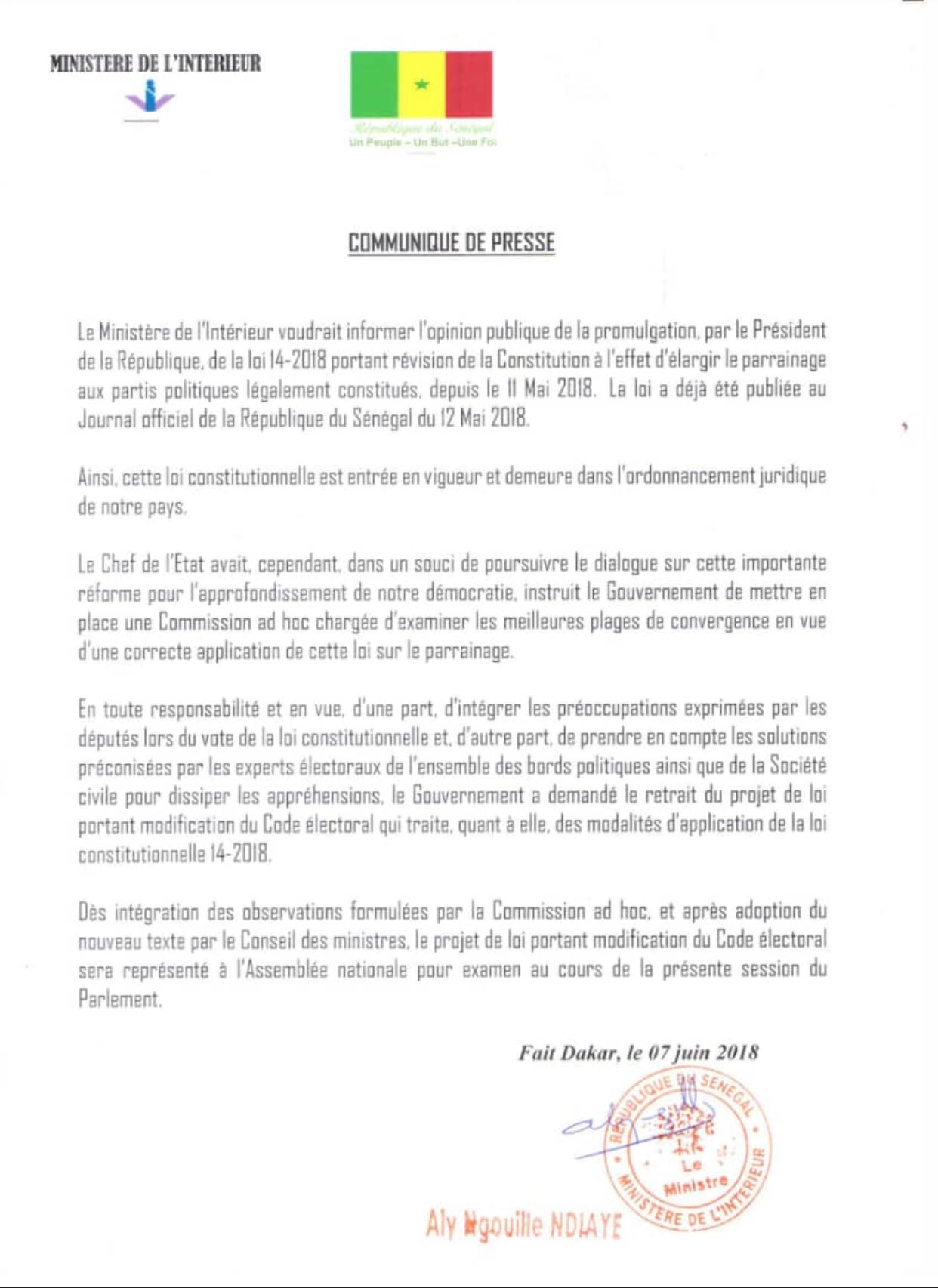 Retrait du projet de loi portant modification du Code électoral : les précisions de Aly Ngouille Ndiaye (officiel)