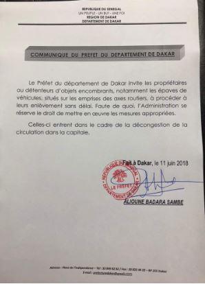Communiqué du Préfet du Département de Dakar : aux propriétaires d'objets encombrants situés sur les emprises des axes routiers