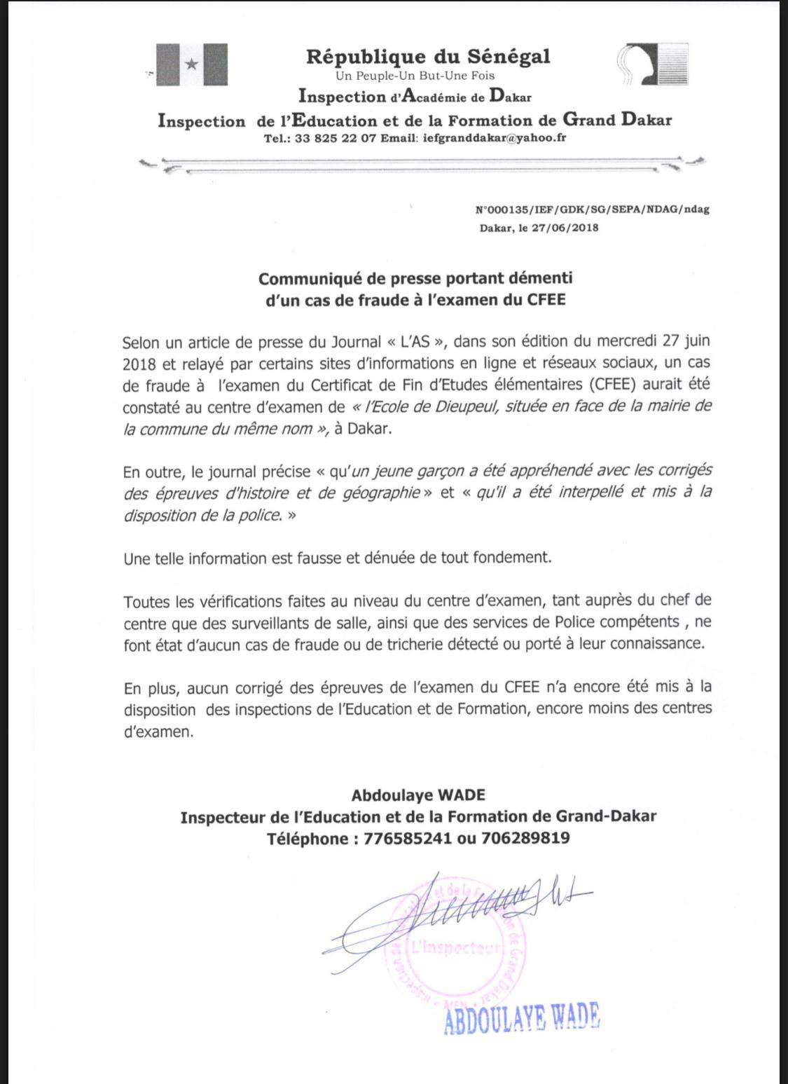 Supposée fraude à l'examen du CFEE : le ministère de l'Eduction nationale dément (DOCUMENT)