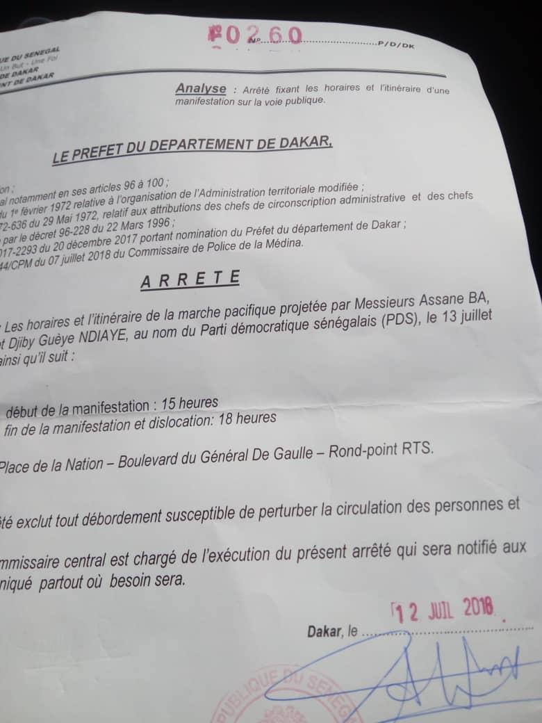 La marche de l'opposition autorisée par le Préfet de Dakar (DOCUMENT)
