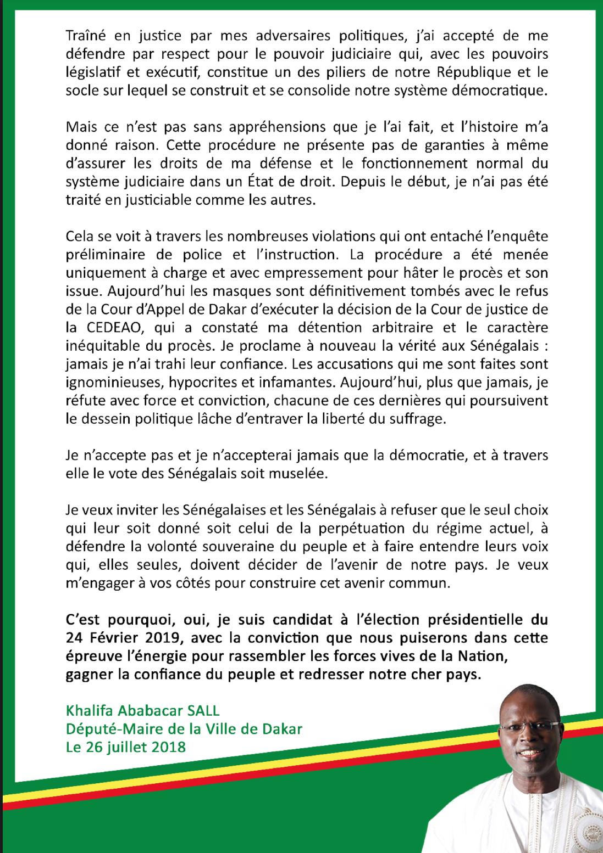 Procès en appel, candidature à la présidentielle : Khalifa Sall parle... (DOCUMENT)