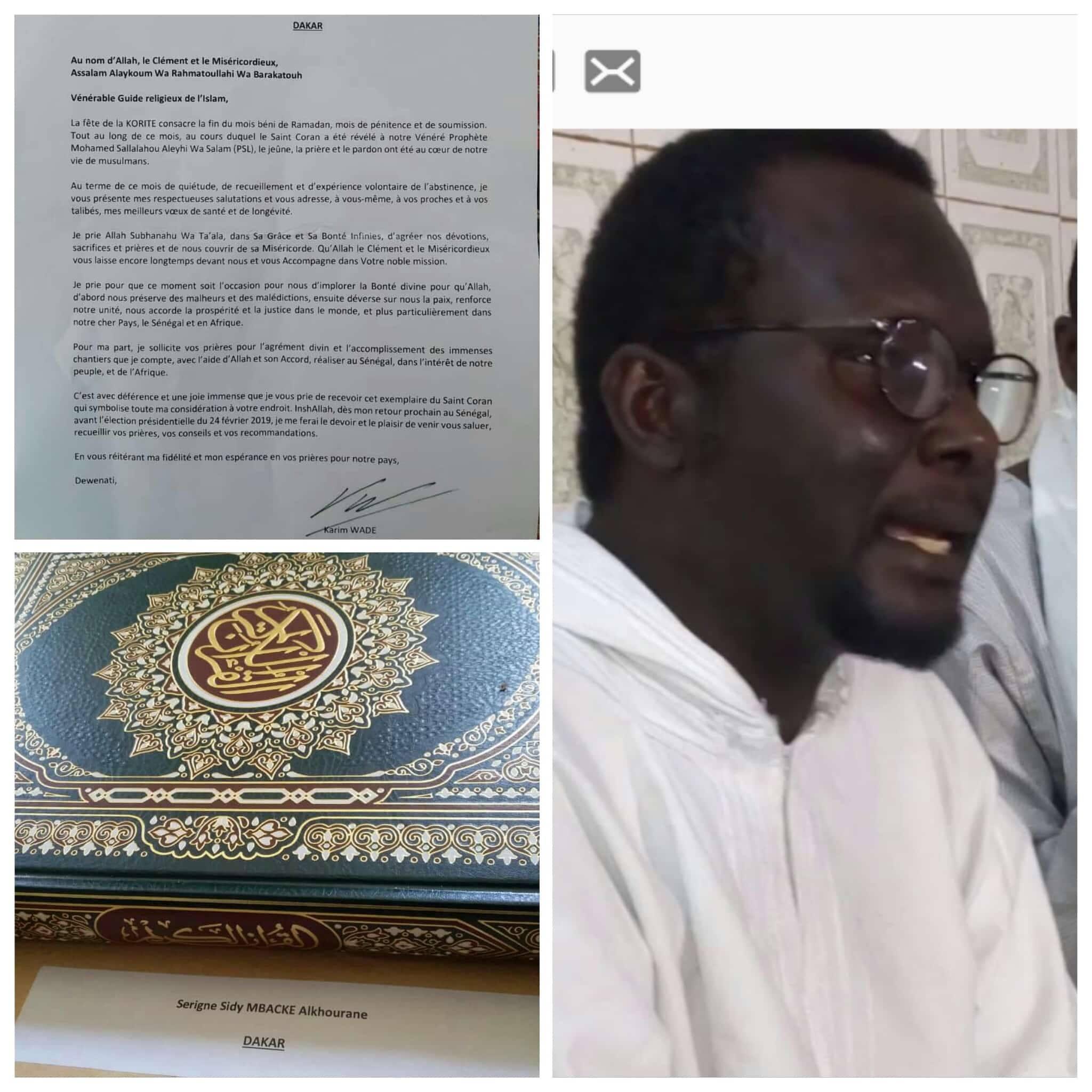 La lettre de Karim Wade à Serigne Sidy Mbacké Alkhourane : Des prières sollicitées pour l'accomplissement des immenses chantiers à réaliser