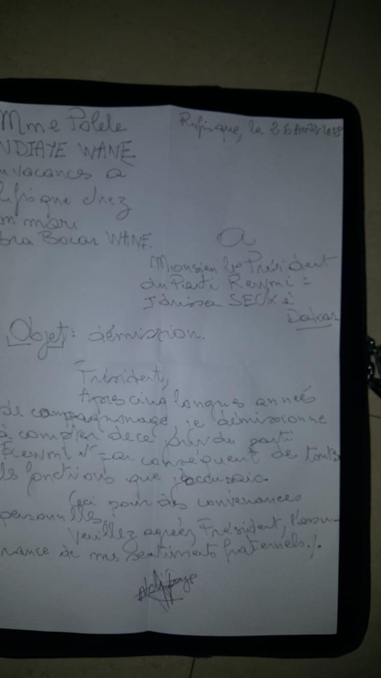 Après son audience avec Macky Sall : La lettre de démission de Paulèle Ndiaye des instances de Rewmi