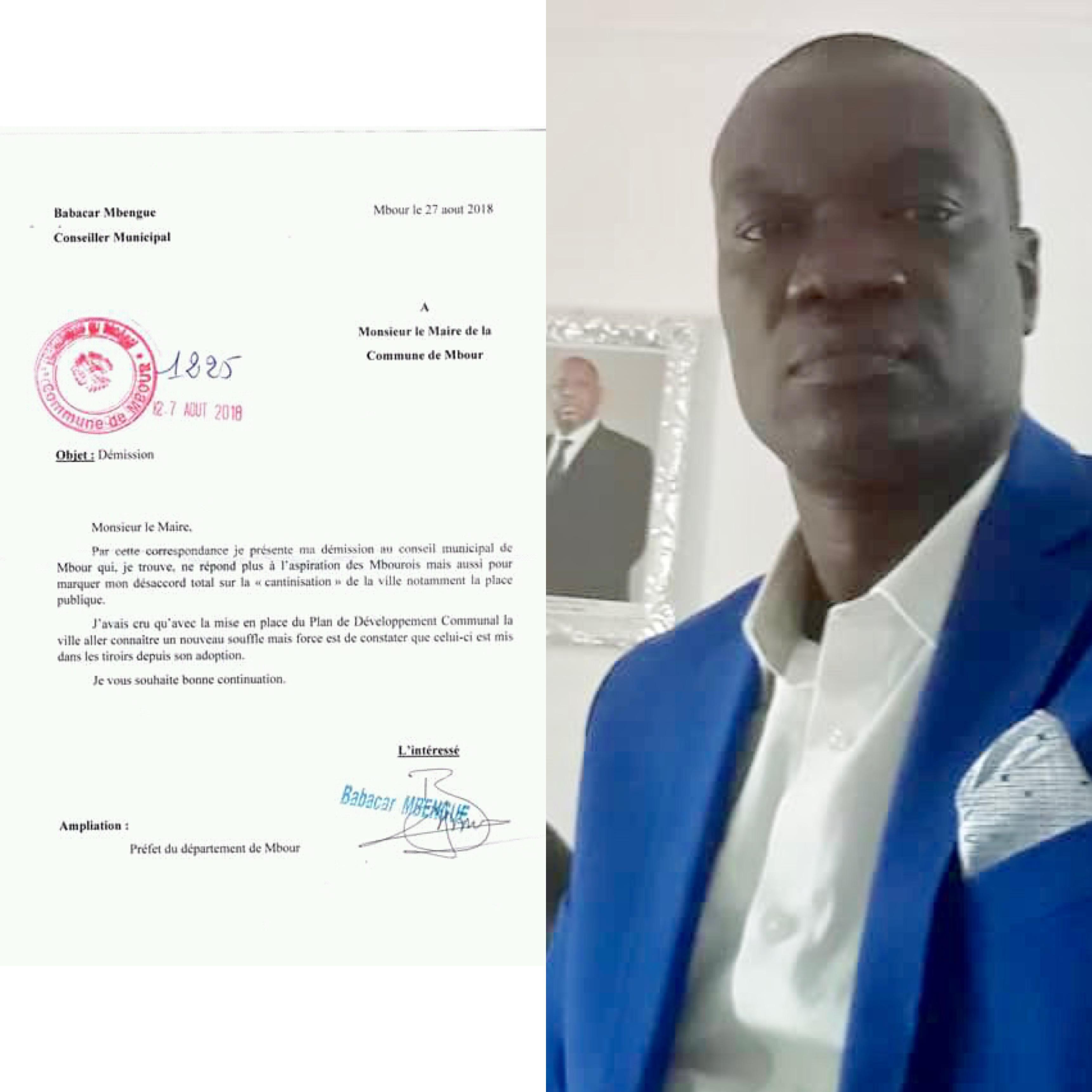 MBOUR : Démission du Président de la Commission Finances et coordinateur du Fescum de la Mairie