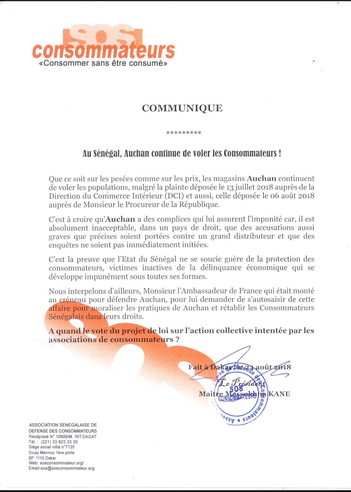 Me Massokhna Kane «SOS CONSOMMATEURS» : «Au Sénégal, Auchan continue de voler ses Consommateurs !» (DOCUMENT)