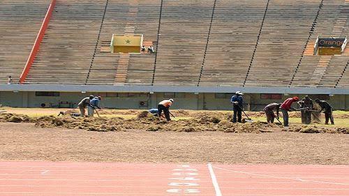 Rénovation : Des jardiniers à pied à d'œuvre pour réhabiliter la pelouse du stade Senghor
