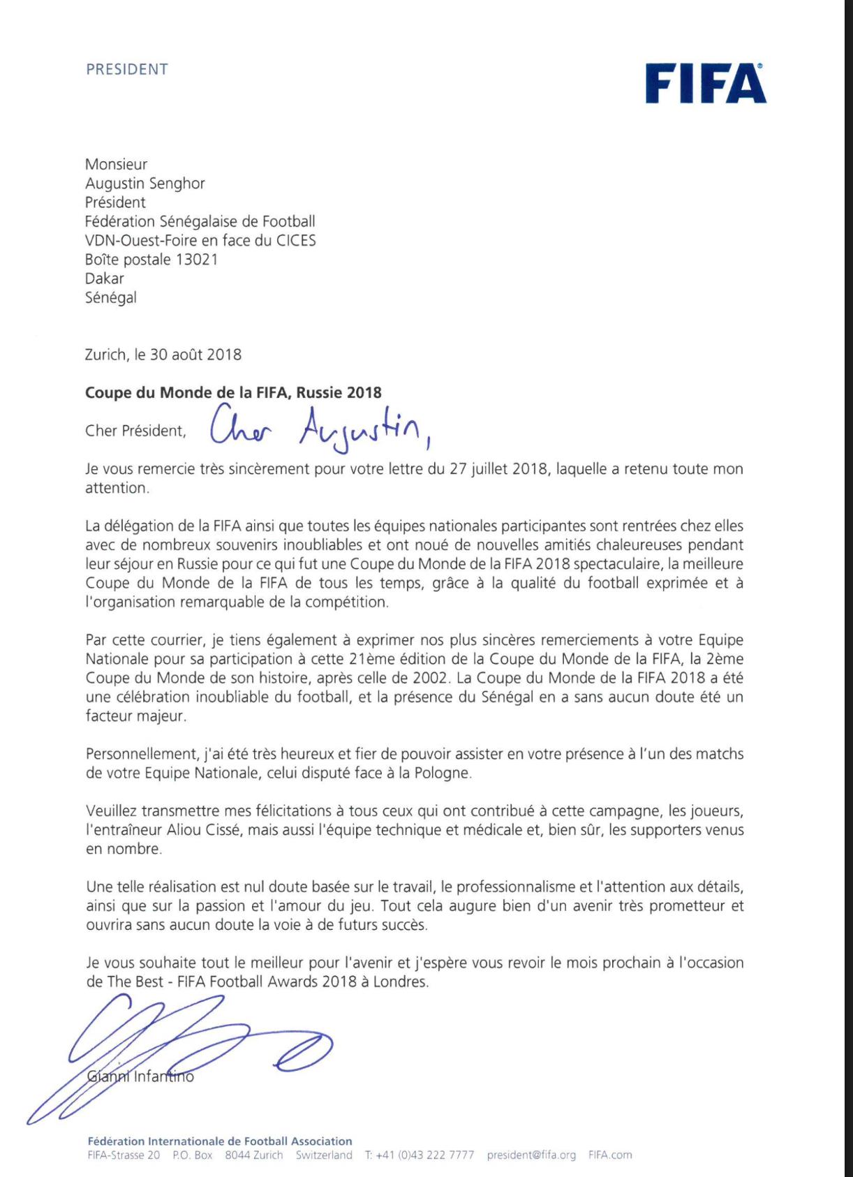 PARTICIPATION A LA COUPE DU MONDE : La lettre de remerciements de la FIFA à la Fédération Sénégalaise de Football (DOCUMENT)