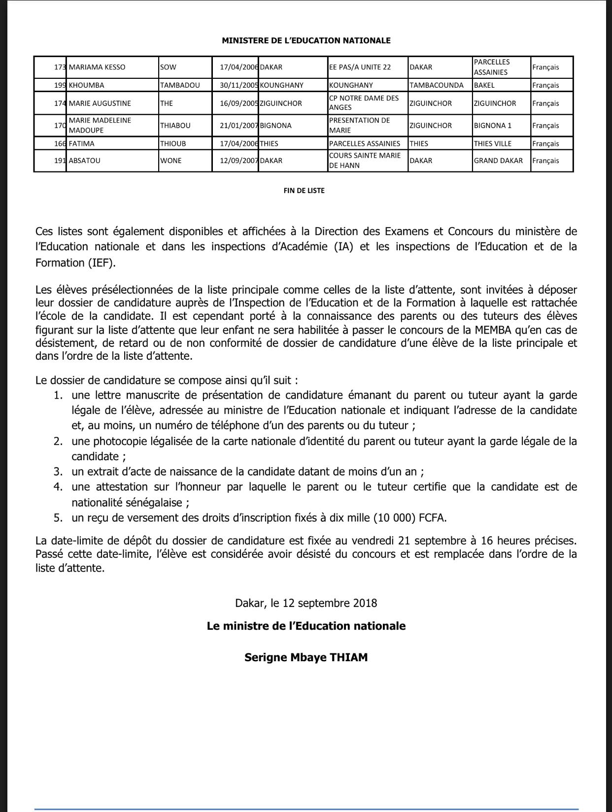 Concours d'entrée à la Maison d'Education Mariama BA de Gorée : liste des 150 élèves présélectionnées (DOCUMENTS)