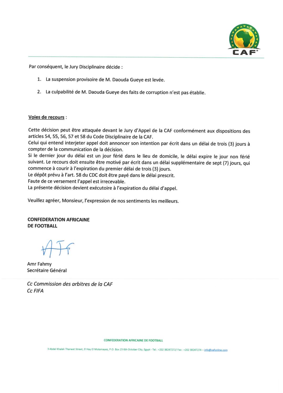 Allégations de corruption : La CAF a levé la suspension de l'arbitre sénégalais Daouda Guèye
