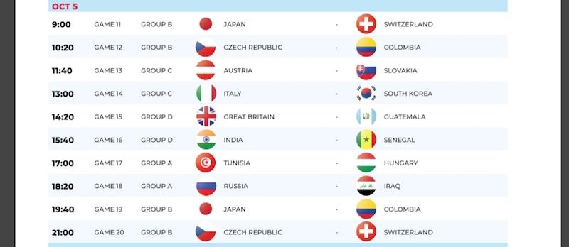 CDM mini-foot U21 Prague / Programme complet de la 2ème journée : Le Sénégal affronte l'Inde cet après-midi à 13h40 GMT