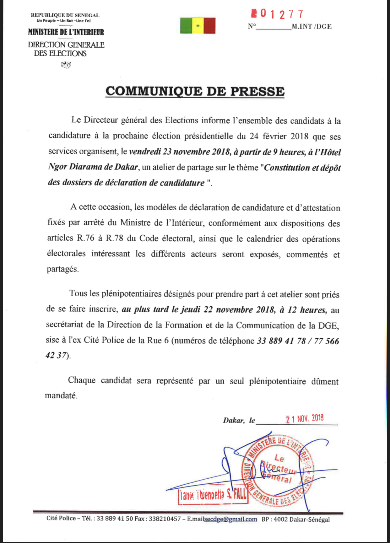 Présidentielle 2019 : La direction des Élections organise un atelier de partage pour informer le calendrier électoral aux candidats déclarés