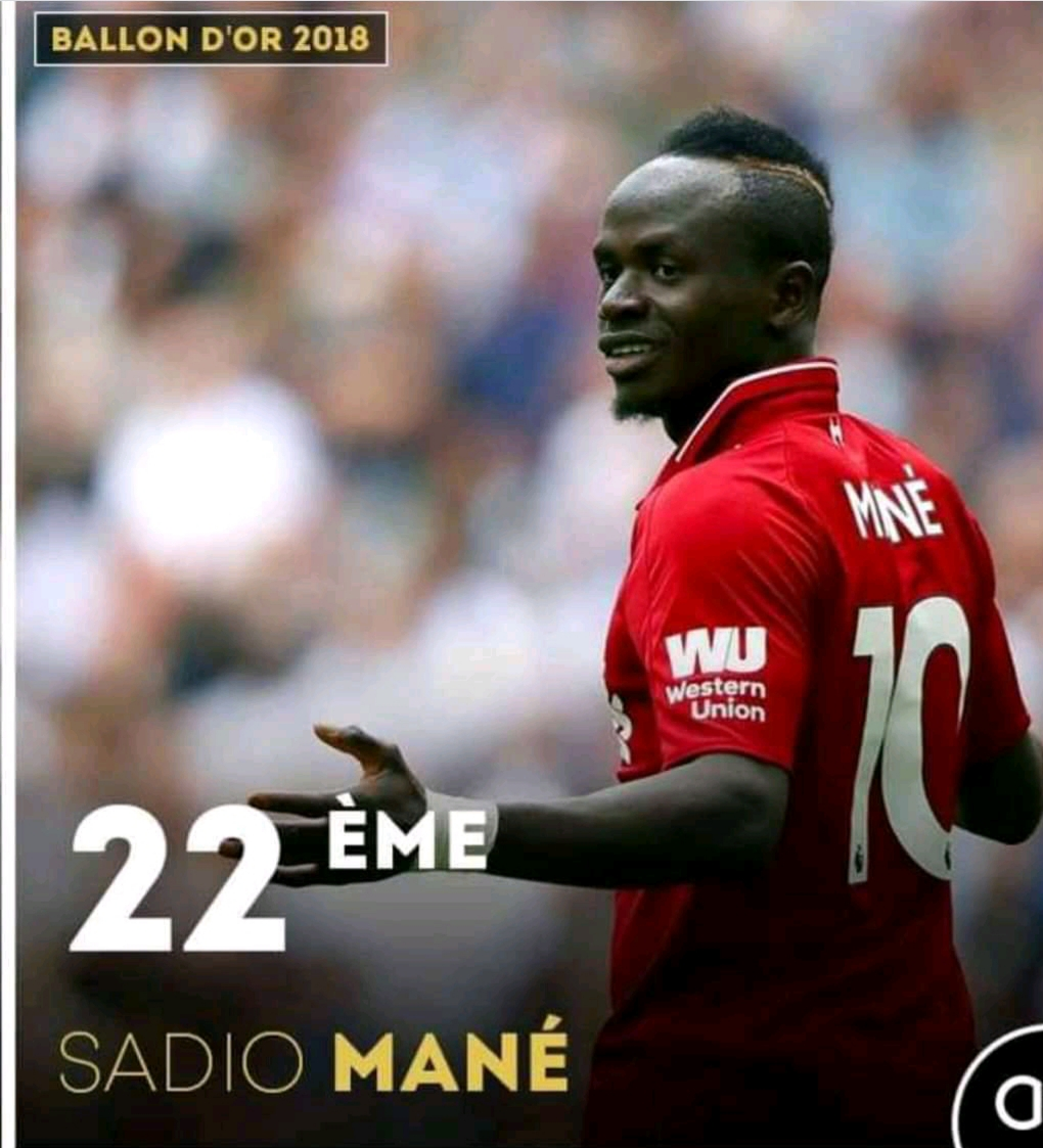 Sadio Mané 22e au classement du Ballon d'Or France Football 2018