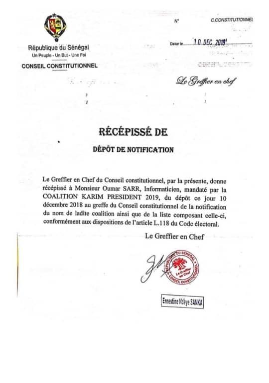 Conseil constitutionnel : Karim Wade a reçu son récépissé de dépôt de candidature