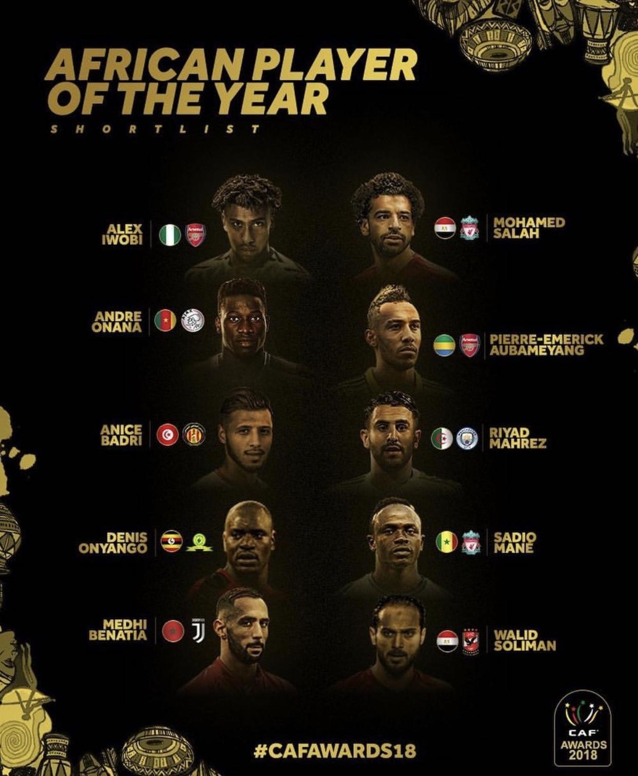 Liste des 10 nominés pour le titre de meilleur joueur africain sans Kalidou Koulibaly
