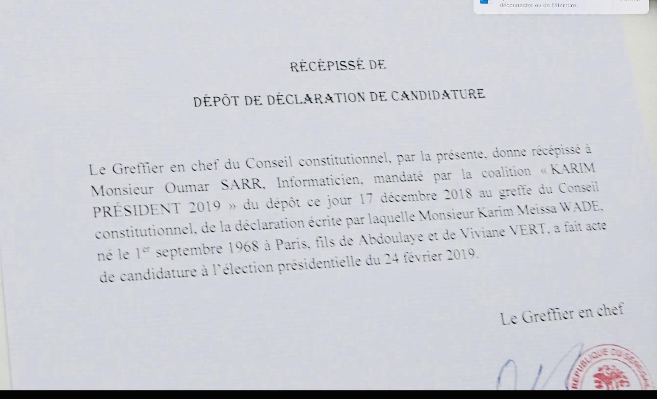 Conseil constitutionnel : Karim Wade obtient son récépissé de déclaration de candidature
