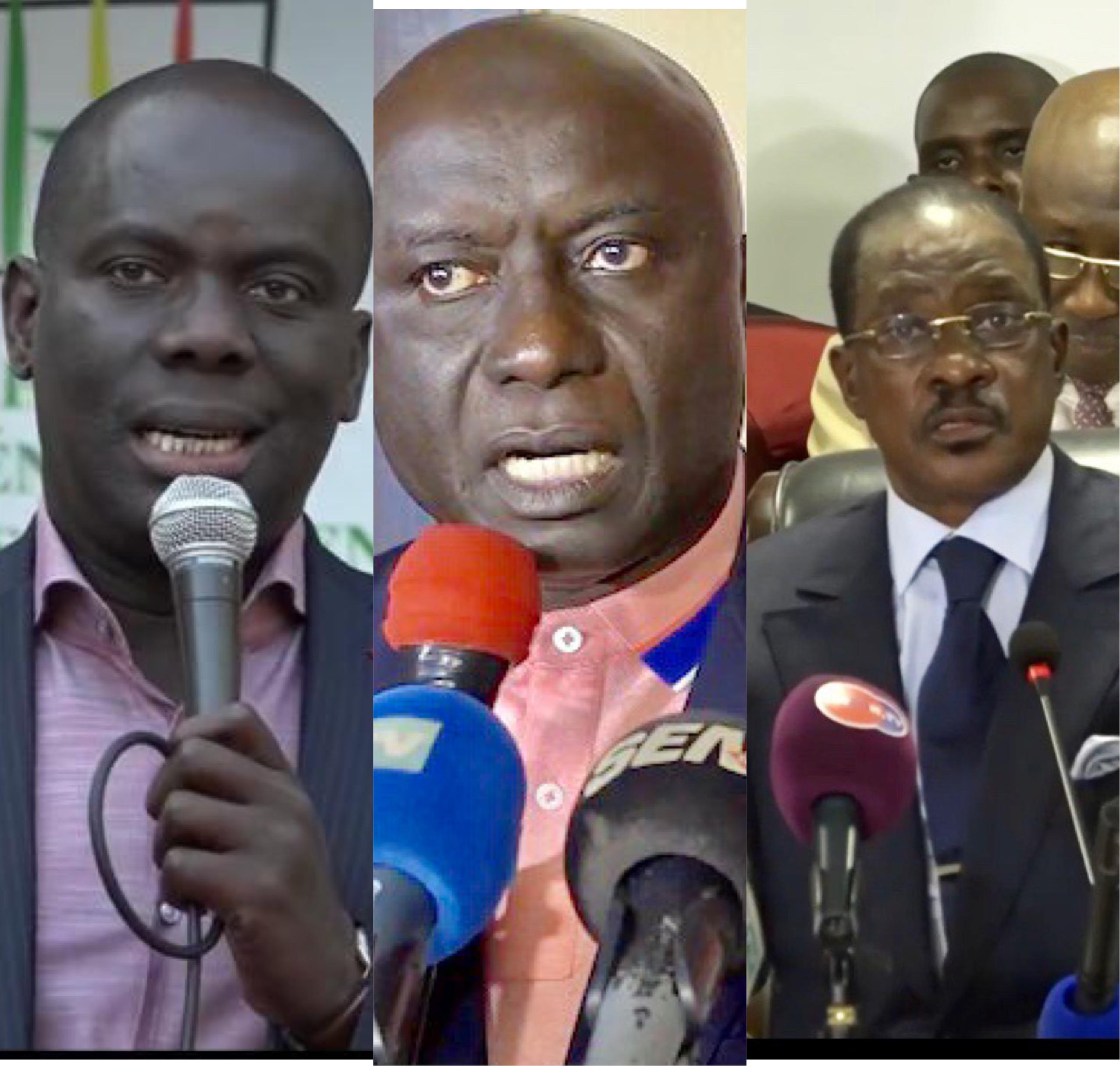 Membres du Collectif des 26 qui ne reconnait plus le parrainage; Idy, Malick Gackou et Madické Niang pourtant déjà sur le terrain pour rejoindre le groupe des 5