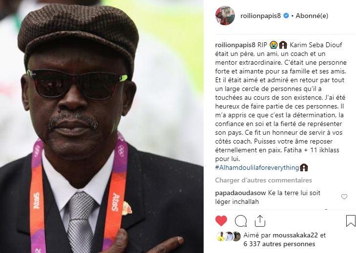 Rappel à Dieu de Karim Sega Diouf : l'hommage du Capitaine des « Lions »