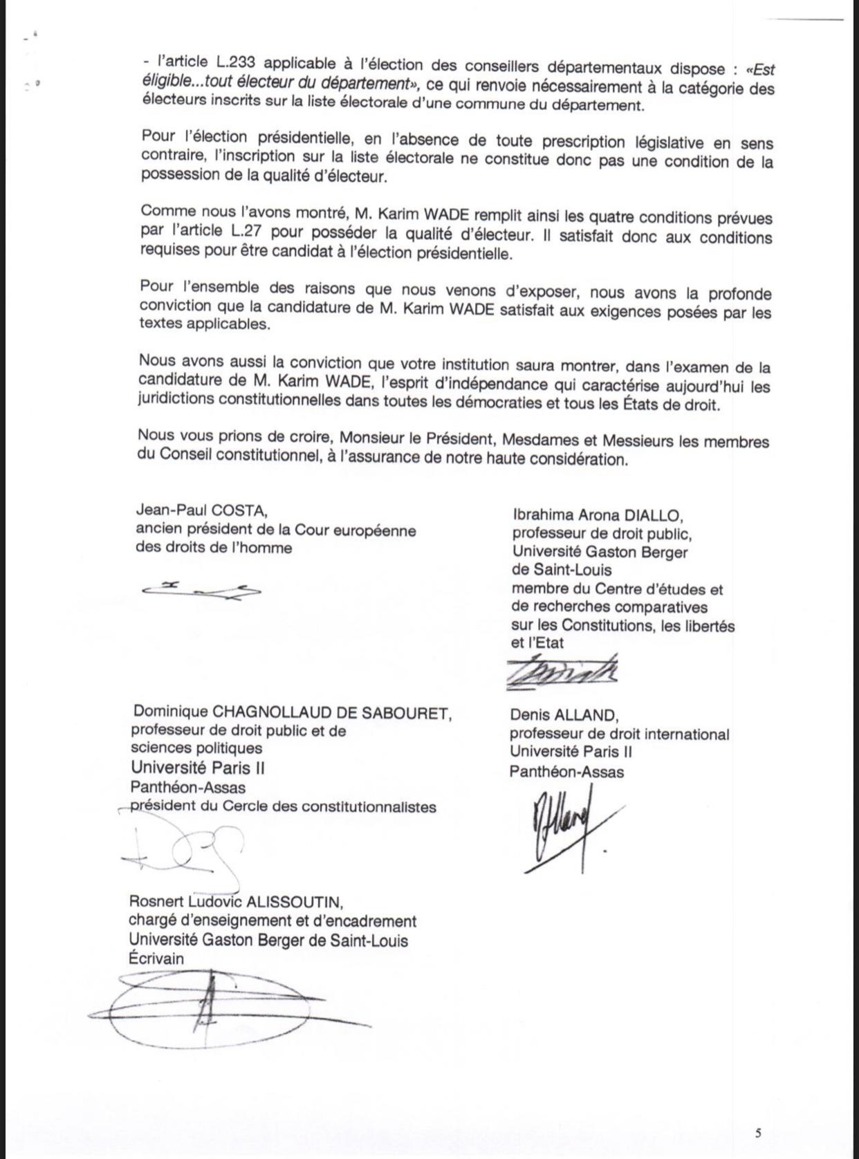 Des spécialistes nationaux et internationaux du droit écrivent au Conseil constitutionnel du Sénégal sur la candidature de Karim Wade (DOCUMENT)