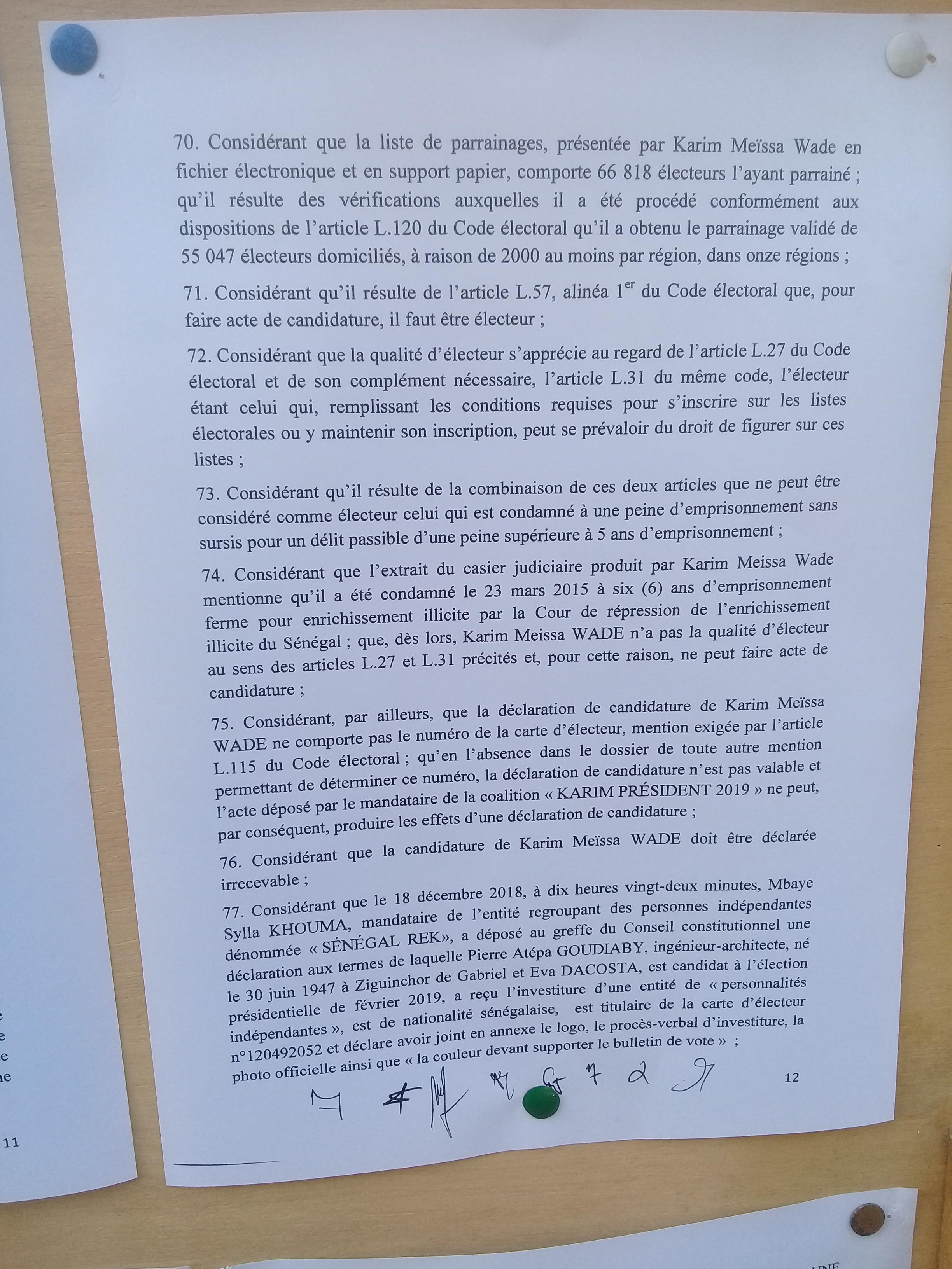 Rejet des candidatures de Khalifa Sall et de Karim Wade: Les motifs avancés par le Conseil Constitutionnel (Documents)
