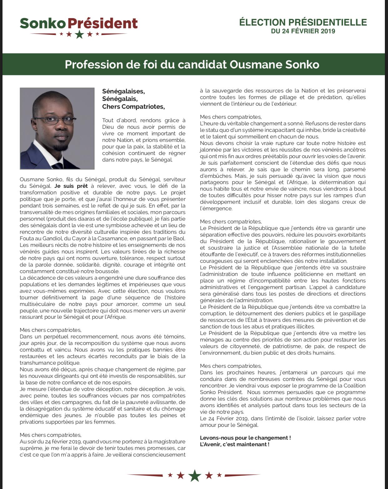 Présidentielle 2019 : Profession de foi du candidat Ousmane Sonko (DOCUMENT)