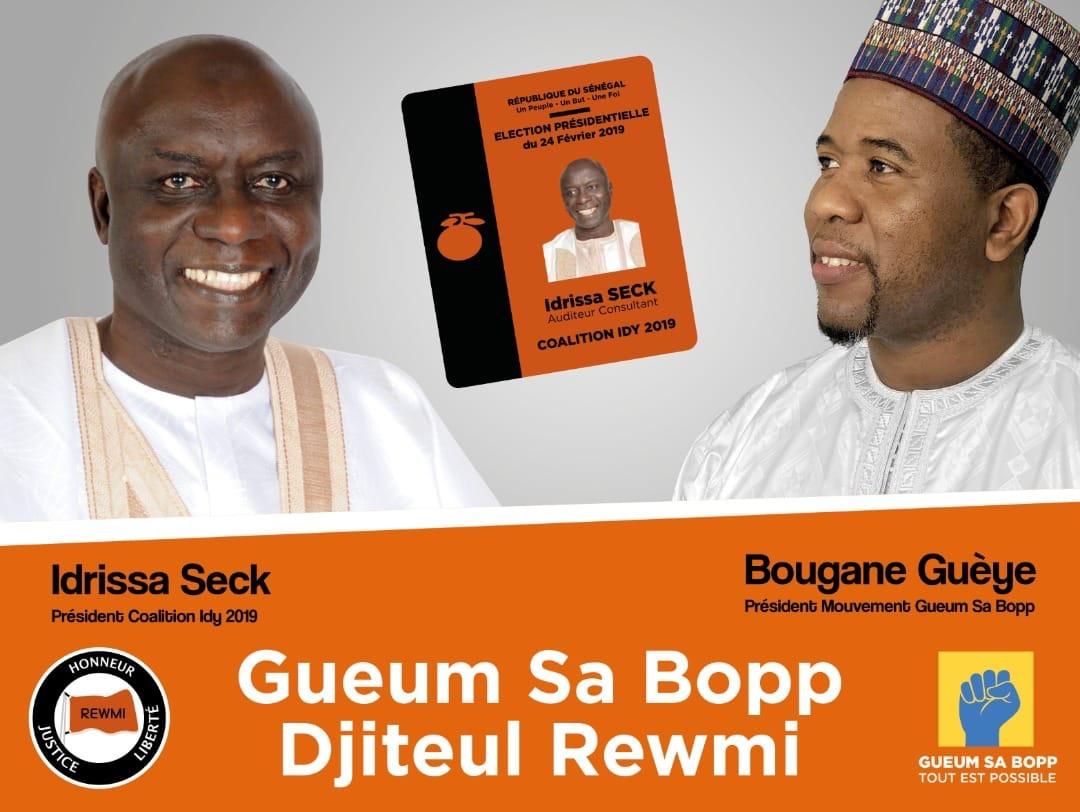 Présidentielle 2019 : «Gueum Sa Bopp» de Bougane Guèye Dany soutient la candidature d'Idrissa Seck.